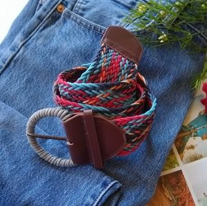 Accessories - Woven textured multi colored belt | boho festival